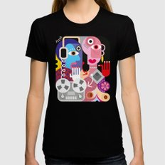 Cubism Deejay - Music LARGE Black Womens Fitted Tee
