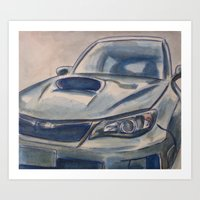 subaru Art Prints featuring Subaru Impreza by Craig Holland Illustration