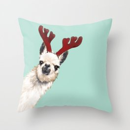 Llama Reindeer in Green Throw Pillow
