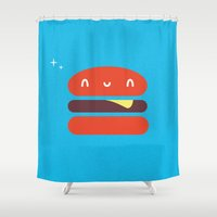 burger Shower Curtains featuring BURGER by Wet Pet