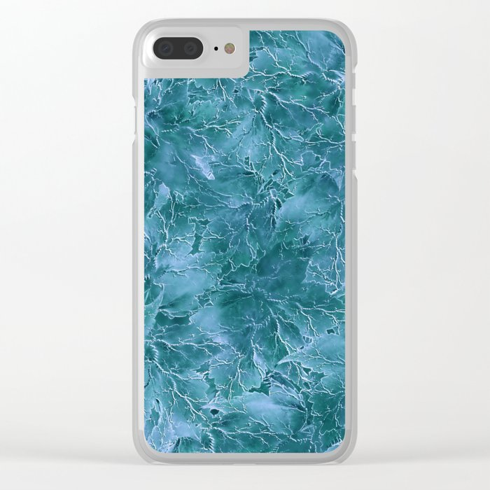 Frozen Leaves 17 Clear iPhone Case