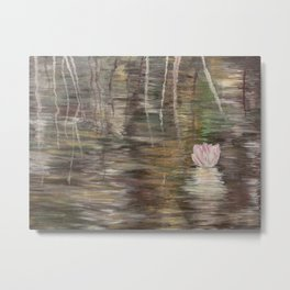 Beautiful  acrylic painting with waterlily in Danube Delta Metal Print