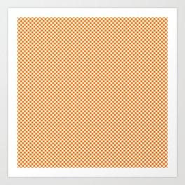 Bright Orange Russet and White Mini Check 2018 Color Trends Art Print