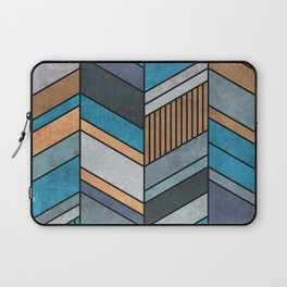 Colorful Concrete Chevron Pattern - Blue, Grey, Brown Laptop Sleeve