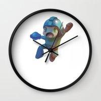 mega man Wall Clocks featuring Mega Man Jumping by jaimito