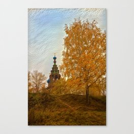 Village Church golden autumn Canvas Print