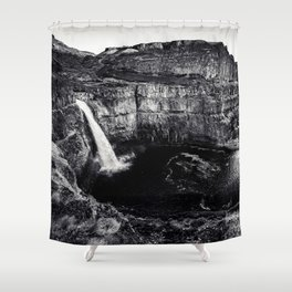 Hidden Waterfall Black and White Shower Curtain