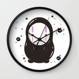 Spirited Away No Face Kawaii With Soot Sprites Wall Clock