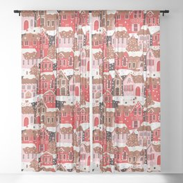Gingerbread Village Sheer Curtain