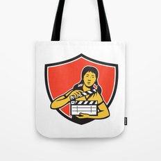 Asian Woman Movie Clapper Shield Retro Tote Bag