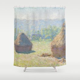 Haystacks, end of Summer by Claude Monet Shower Curtain