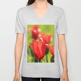 Red tulips in backlight 3 Unisex V-Neck