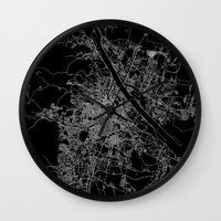 vienna Wall Clocks featuring Vienna map by Line Line Lines