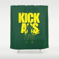 ass Shower Curtains featuring KICK ASS by justjeff