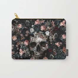 Skull and Floral pattern Carry-All Pouch