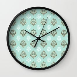 Aqua Mint Damask Pattern Wall Clock