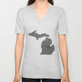 Michigan Map Unisex V-Neck