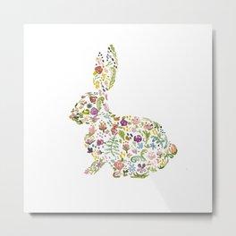 Springtime Flower Bunny Metal Print