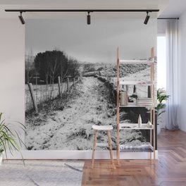 Snowy Country Lane Wall Mural