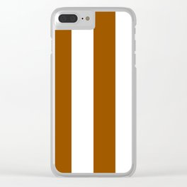 Wide Vertical Stripes - White and Brown Clear iPhone Case