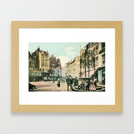 Antwerp Belgium city center restored view around 1900 Framed Art Print
