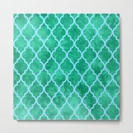 Classic Quatrefoil Lattice Pattern 909 Mint Green and Blue Metal Print