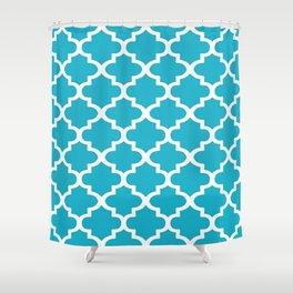 Arabesque Architecture Pattern In Cerulean Blue Shower Curtain