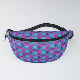 Tiled pattern of dark blue rhombuses and purple triangles in a zigzag and pyramid. Fanny Pack