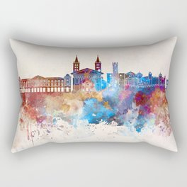 Aosta skyline in watercolor background Rectangular Pillow