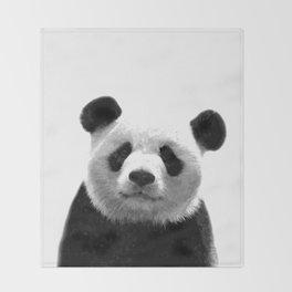 Black and white panda portrait Throw Blanket