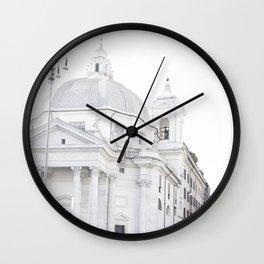 Antique Rome city walls, abstract white church art Wall Clock