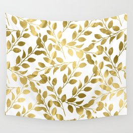 Gold Leaves on White Wall Tapestry