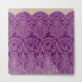 lace border stretched in purple Metal Print