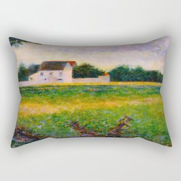 Landscape of the Ile de France Post-Impressionism landscape Oil Painting Countryside Cottages Farm Rectangular Pillow