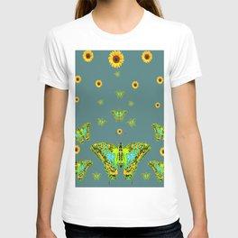 BLUE-GREEN-YELLOW PATTERNED MOTHS YELLOW SUNFLOWERS T-shirt