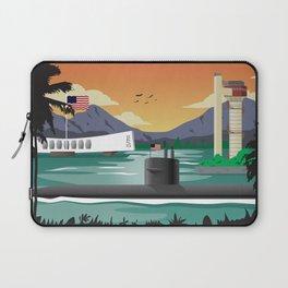 Pearl Harbor, HI - Retro Submarine Travel Poster Laptop Sleeve