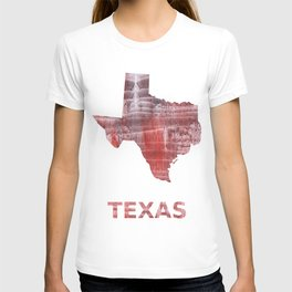 Texas map outline Striped red watercolor design T-shirt