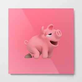 Rosa the Pig does a poop Metal Print