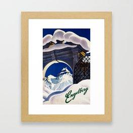 Vintage Engelberg Switzerland Travel Framed Art Print