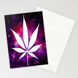 Weed : High Times Fuchsia Pink Purple Galaxy Stationery Cards
