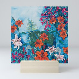 Blue Jungle of Orange Lily and Pink Trumpet Vine Floral Mini Art Print