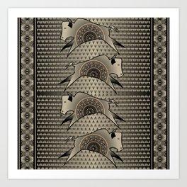 Buffalo Running (Gray) Art Print