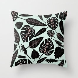Blacked Leaves Throw Pillow