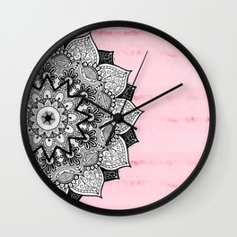 Artistic Boho Hand Drawn Mandala on Pink Tie Dye Wall Clock
