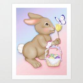 Brown Bunny and Basket Art Print