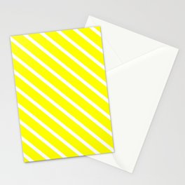 Neon Yellow Diagonal Stripes Stationery Cards