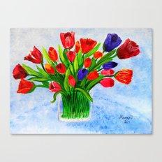 Short stem tulips Canvas Print