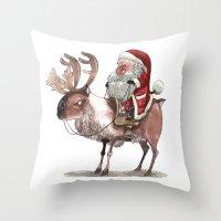 bouletcorp Throw Pillows featuring Père Noël Énervé / Angry Santa by Bouletcorp
