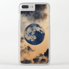 Moon Clouds Clear iPhone Case