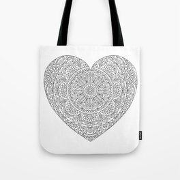 Mandala Heart with Flowers and Leaves for Adult Coloring Tote Bag